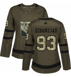 Womens Adidas New York Rangers 93 Mika Zibanejad Authentic Green Salute to Service NHL Jersey