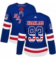 Womens Adidas New York Rangers 93 Mika Zibanejad Authentic Royal Blue USA Flag Fashion NHL Jersey