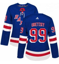Womens Adidas New York Rangers 99 Wayne Gretzky Authentic Royal Blue Home NHL Jersey