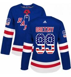 Womens Adidas New York Rangers 99 Wayne Gretzky Authentic Royal Blue USA Flag Fashion NHL Jersey
