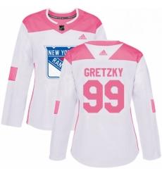 Womens Adidas New York Rangers 99 Wayne Gretzky Authentic WhitePink Fashion NHL Jersey