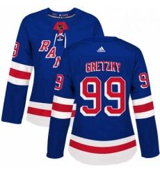Womens Adidas New York Rangers 99 Wayne Gretzky Premier Royal Blue Home NHL Jersey