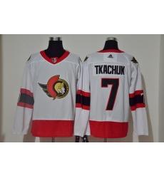 Men Ottawa Senators 7 Brady Tkachuk White 2020 21 Reverse Retro Adidas Jersey