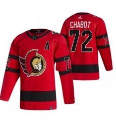 Men Ottawa Senators 72 Thomas Chabot Red Adidas 2020 21 Reverse Retro Alternate NHL Jersey