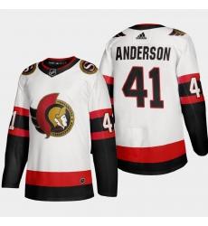 Ottawa Senators 41 Craig Anderson Men Adidas 2020 21 Authentic Player Away Stitched NHL Jersey White