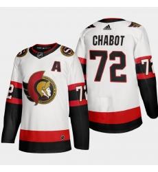 Ottawa Senators 72 Thomas Chabot Men Adidas 2020 21 Authentic Player Away Stitched NHL Jersey White