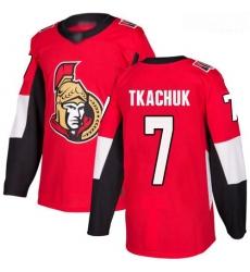 Senators #7 Brady Tkachuk Red Home Authentic Stitched Hockey Jersey