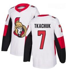 Senators #7 Brady Tkachuk White Road Authentic Stitched Hockey Jersey