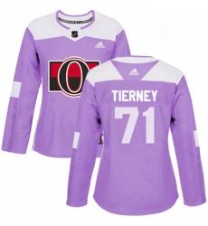Womens Adidas Ottawa Senators 71 Chris Tierney Authentic Purple Fights Cancer Practice NHL Jersey