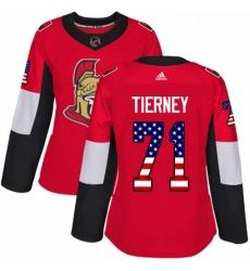 Womens Adidas Ottawa Senators 71 Chris Tierney Authentic Red USA Flag Fashion NHL Jersey