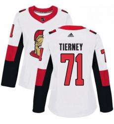 Womens Adidas Ottawa Senators 71 Chris Tierney Authentic White Away NHL Jersey