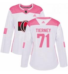 Womens Adidas Ottawa Senators 71 Chris Tierney Authentic White Pink Fashion NHL Jersey
