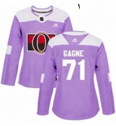 Womens Adidas Ottawa Senators 71 Gabriel Gagne Authentic Purple Fights Cancer Practice NHL Jersey