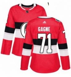 Womens Adidas Ottawa Senators 71 Gabriel Gagne Authentic Red 2017 100 Classic NHL Jersey