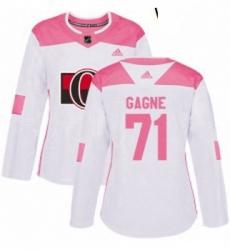 Womens Adidas Ottawa Senators 71 Gabriel Gagne Authentic WhitePink Fashion NHL Jersey