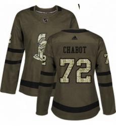 Womens Adidas Ottawa Senators 72 Thomas Chabot Authentic Green Salute to Service NHL Jersey