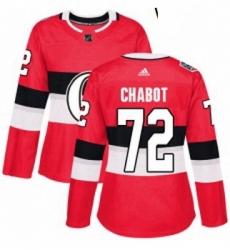 Womens Adidas Ottawa Senators 72 Thomas Chabot Authentic Red 2017 100 Classic NHL Jersey