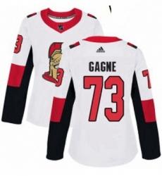Womens Adidas Ottawa Senators 73 Gabriel Gagne Authentic White Away NHL Jersey