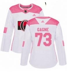 Womens Adidas Ottawa Senators 73 Gabriel Gagne Authentic White Pink Fashion NHL Jersey