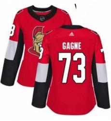 Womens Adidas Ottawa Senators 73 Gabriel Gagne Premier Red Home NHL Jersey