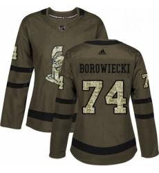 Womens Adidas Ottawa Senators 74 Mark Borowiecki Authentic Green Salute to Service NHL Jersey