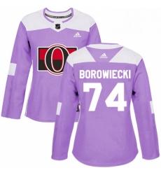 Womens Adidas Ottawa Senators 74 Mark Borowiecki Authentic Purple Fights Cancer Practice NHL Jersey