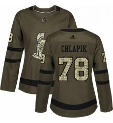 Womens Adidas Ottawa Senators 78 Filip Chlapik Authentic Green Salute to Service NHL Jersey