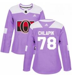 Womens Adidas Ottawa Senators 78 Filip Chlapik Authentic Purple Fights Cancer Practice NHL Jersey