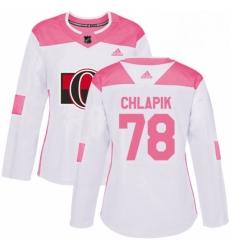 Womens Adidas Ottawa Senators 78 Filip Chlapik Authentic WhitePink Fashion NHL Jersey