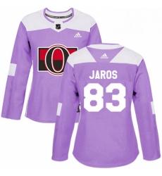 Womens Adidas Ottawa Senators 83 Christian Jaros Authentic Purple Fights Cancer Practice NHL Jersey