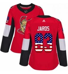 Womens Adidas Ottawa Senators 83 Christian Jaros Authentic Red USA Flag Fashion NHL Jersey