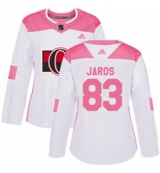 Womens Adidas Ottawa Senators 83 Christian Jaros Authentic WhitePink Fashion NHL Jersey