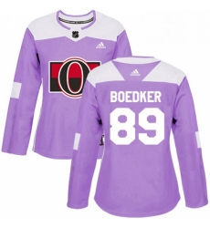 Womens Adidas Ottawa Senators 89 Mikkel Boedker Authentic Purple Fights Cancer Practice NHL Jersey