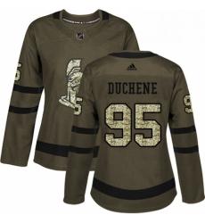 Womens Adidas Ottawa Senators 95 Matt Duchene Authentic Green Salute to Service NHL Jersey