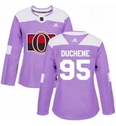 Womens Adidas Ottawa Senators 95 Matt Duchene Authentic Purple Fights Cancer Practice NHL Jersey