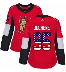 Womens Adidas Ottawa Senators 95 Matt Duchene Authentic Red USA Flag Fashion NHL Jersey