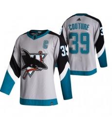 Men San Jose Sharks 39 Logan Couture Grey Adidas 2020 21 Reverse Retro Alternate NHL Jersey