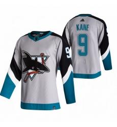 Men San Jose Sharks 9 Evander Kane Grey Adidas 2020 21 Reverse Retro Alternate NHL Jersey