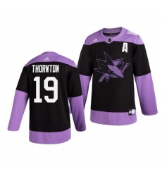 Sharks 19 Joe Thornton Black Purple Hockey Fights Cancer Adidas Jersey