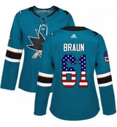 Womens Adidas San Jose Sharks 61 Justin Braun Authentic Teal Green USA Flag Fashion NHL Jersey
