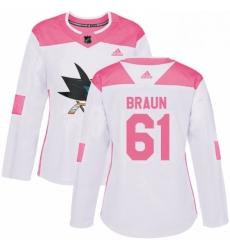 Womens Adidas San Jose Sharks 61 Justin Braun Authentic WhitePink Fashion NHL Jersey