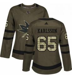 Womens Adidas San Jose Sharks 65 Erik Karlsson Authentic Green Salute to Service NHL Jersey