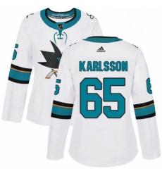 Womens Adidas San Jose Sharks 65 Erik Karlsson Authentic White Away NHL Jersey