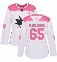 Womens Adidas San Jose Sharks 65 Erik Karlsson Authentic White Pink Fashion NHL Jersey