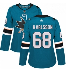 Womens Adidas San Jose Sharks 68 Melker Karlsson Authentic Teal Green Home NHL Jersey