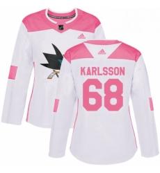 Womens Adidas San Jose Sharks 68 Melker Karlsson Authentic WhitePink Fashion NHL Jersey