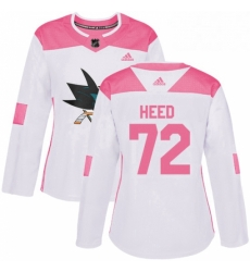 Womens Adidas San Jose Sharks 72 Tim Heed Authentic WhitePink Fashion NHL Jersey