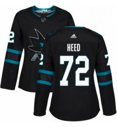 Womens Adidas San Jose Sharks 72 Tim Heed Premier Black Alternate NHL Jersey