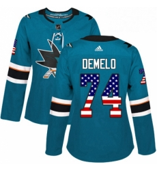 Womens Adidas San Jose Sharks 74 Dylan DeMelo Authentic Teal Green USA Flag Fashion NHL Jersey