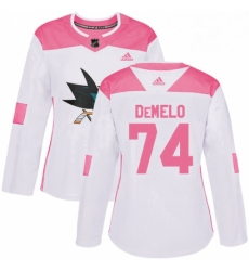 Womens Adidas San Jose Sharks 74 Dylan DeMelo Authentic WhitePink Fashion NHL Jersey